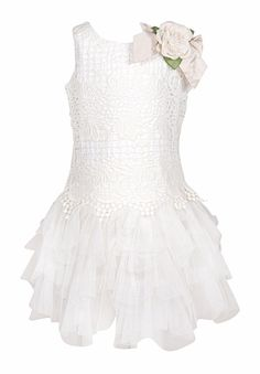 bbf7bf438 Biscotti Girls Sleeveless Ivory Dress - Fairytale Romance Vintage Lace and  Tulle - Rose at Shoulder