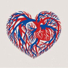 Blue & Red Heart in a heart