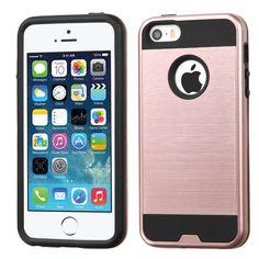 MYBAT Merge Brushed Hybrid iPhone SE Case - Rose Gold/Black