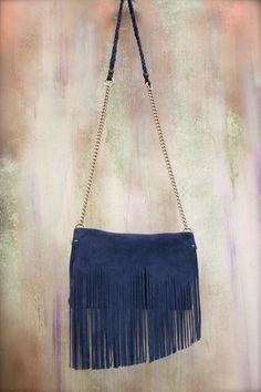 fringes bag, genuine leather crossbody, blue suede purse, boho bag, fringes clutch