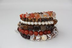 Wire wrapped beaded bracelet Earth Tone beaded by EverydaySisters, $45.00