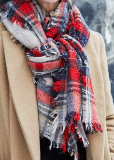 Winter Fashion Camel Coat Plaid Scarf Style Trend