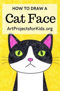 Art Drawings For Kids, Drawing For Kids, Art For Kids, Drawing Projects, Art Projects, Projects For Kids, Project Ideas, Cat Face Drawing, Scary Cat