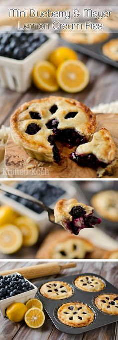 Mini Blueberry & Meyer Lemon Cream Pies - Krafted Koch - The perfect little bit of summer in these adorable and delicious pies! What a yummy recipe for an amazing dessert. And how cute is the crust? Pie Dessert, Dessert Recipes, Lemon Cream Pies, Lemon Tarts, Blueberry Recipes, Mini Blueberry Pies, Sweet Pie, Mini Pies, Mini Foods