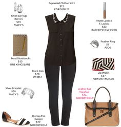 All black with hints of white will make everything look nice.  @Forever 21 @Nordstrom  #chiffonshirt  @Topshop  #flats