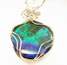 Sterling Silver Wire Wrapped Dichroic Glass Pendant | SecondNatureDesigns - Jewelry on ArtFire