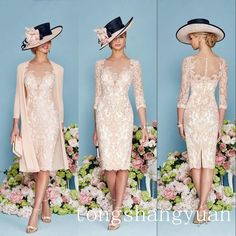 Pink Half Sleeves Lace Mother of The Bride Dress Jacket Chiffon Coat Knee-length #Dress