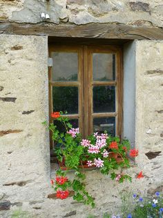 Creuse, Limousin, France #French #houses #windows and followers, geranium
