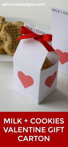 Milk and Cookies Valentine Gift Carton – Satsuma Designs valentines day ideas you tube Valentine Treats, Valentines Day Gifts For Him, Valentines Day Party, Valentine Day Crafts, Valentine Stuff, Holiday Crafts, Valentine's Day Crafts For Kids, Mothers Day Crafts, Gifts For Kids