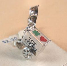 Vintage STERLING Silver Ice Cream Cart CHARM, 2 flavors moves  MOC