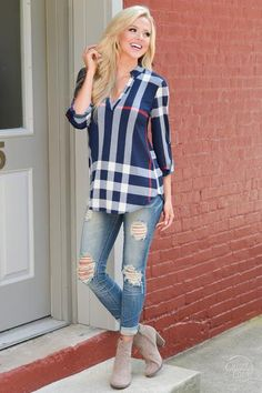 Office Hours Plaid Top - Navy