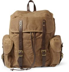 J.Crew Abingdon Waxed Cotton-Canvas and Leather Backpack