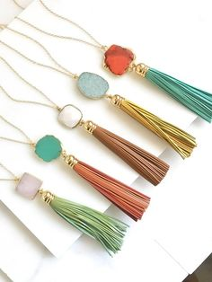 100 Boho Wedding Decor Finds You'll Love! | The Perfect Palette Diy Tassel, Tassel Jewelry, Gems Jewelry, Tassels, Orange Et Turquoise, Aqua, Artisan Jewelry, Handmade Jewelry, Collier Turquoise