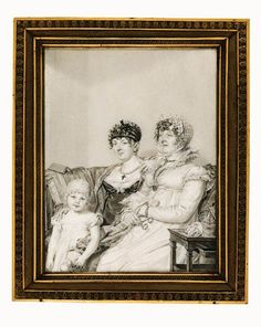 The Countess de Montmarie with her mother and her daughter, seated on a sofa in an interior, the grandmother holding a pair of spectacles and a letter inscribed 'Taragonne', the young girl holding a doll Regency Romance Novels, Road Transport, African Elephant, Old Master, Online Images, Mother And Child, Daughter, Drawings, Artwork