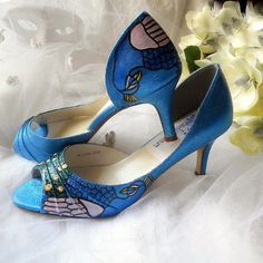 Wedding  Shoes Winter Peacock teal STARRY NIGHT only by norakaren