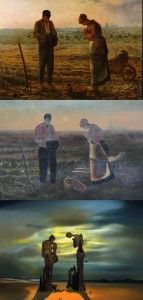 Triptych showing The Angelus, a painting by Millet (top), and folk art rendering of it (center), and Salvador Dali's homage to Millet's piece (bottom).