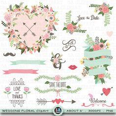 "Wedding ClipArt ""WEDDING FLORA"" clip art ,Floral Frames,Banner Floral,Laurel,Wreath,Rustic Wreaths,Wedding Flora,Wedding invitation Wf093 by SAClipArt on Etsy"