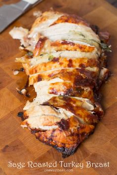 Just look at this! Doesn't it make your mouth water?! Sage and thyme roasted turkey breast that's still just as juicy and delicious as a whole bird but without the hard work.