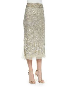 Embroidered Midi Skirt, Parchment/Platinum by Donna Karan at Neiman Marcus.