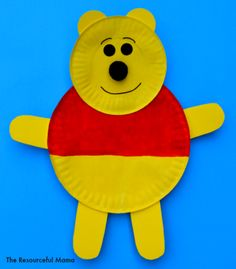 Winnie the Pooh Paper Plate Craft Winnie the Pooh kid craft made with paper plates More – Disney Crafts Id Disney Crafts For Kids, Spring Crafts For Kids, Art For Kids, Kid Art, Summer Crafts, Bear Crafts, Animal Crafts, Fun Crafts, Dinosaur Crafts