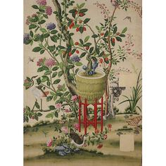 This panel of painted wallpaper shows fruits, flowers & birds. It would have been part of a set of papers intended for decorating a 'Chinese room' inside a European house. This widespread taste in interior decoration was part of a fashion in the decorative arts & architecture known as 'Chinoiserie' - a fanciful Chinese style invented by Europeans. The trade with Europe in Chinese wallpaper seems to have started in the 1690s. Chinoiserie wallpaper retained its popularity into the early 19th…