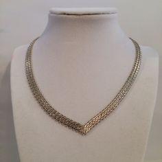 Vintage Sterling Silver 925 V Shaped Weave Link by JewelryGeeks, $69.99