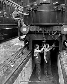 WWl. Women engine cleaners on the South Western.