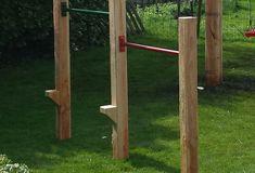 Backyard DIY: Jungle Gym Bars (without concrete! Backyard Jungle Gym, Backyard Trampoline, Backyard Playground, Backyard For Kids, Backyard Projects, Outdoor Projects, Backyard Toys, Backyard Ideas, Large Backyard Landscaping