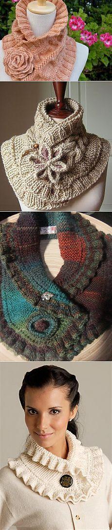 Красивые шарфы-воротники, связанные спицами — Рукоделие