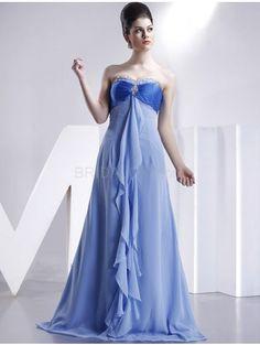 Blue A-line Strapless Sweetheart Empire Waist Chiffon Bridesmaid Maxi Dress