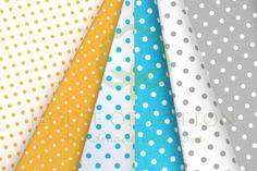 Yellow, turquoise & gray cotton fabric set with polka dot / Zestaw groszki
