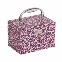 Designed specifically for your little fashionista, the hand crafted Mele & Co. Josie children's musical jewelry and accessory organizer will brighten up your little girl's day. Its unique glittery pink and purple leopard print exterior design accented with silver tone latch, hardware, and carry handle are the perfect blend of flair and fun, yet functional. #travelwithmele