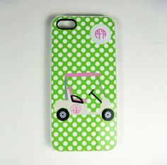 iPhone 4, 4S or 5 Cell Phone Case Golf Cart And Golf Ball Personalized With A Monogram,  Lilly Colors Pink And Green via Etsy #golf #lorisgolfshoppe