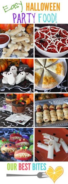 Lots of great ideas for Easy Halloween Party Food :D  My favorites are the Mummy Dogs, Bones n' Blood, Cheesy Fingers, Dirt n' Worms, Pumpkin Sammies, Witches Wands, and especially the Slimy Worms on a Bun.