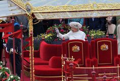 Her Majesty The Queen onboard the Royal Barge. Picture: LA(Phot) Claire Myers