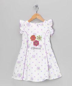 White & Lilac 'Flower' Polka Dot Dress - Toddler & Girls by Sam De Fleur on #zulilyUK today!