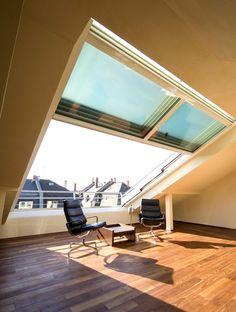 Anna saved to beautifulOpenAir Dachschiebefenster 948 3638 - Attic Loft, Attic Rooms, Loft Conversion Roof, Piscina Interior, Roof Window, Sliding Windows, Attic Renovation, Roof Light, Pergola Designs