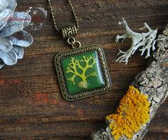 Real lichen Necklace. Pendant with real  lichen.  Forest Jewelry. Botanical jewelry. Nature Inspired. Botanical accessory by NatureInDrop on Etsy
