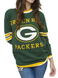 NFL Green Bay Packers Unisex Throwback Intarsia Sweater - - Junk Food Clothing-awesome score at Urban Outfitters