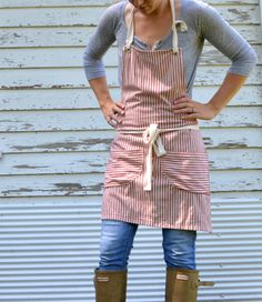 Rustic Full Cotton Ticking Apron for Kitchen Studio Restaurant Workshop Garden for Him or Her