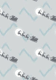 Lewis and Irene - Northern Lights - Santas sleigh on Silver (METALIC) - 1/4m