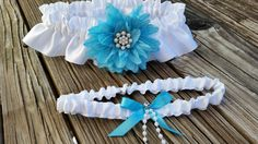 Wedding garter belt set - Fabulous aqua blue wedding garter set available in ivory or white satin.