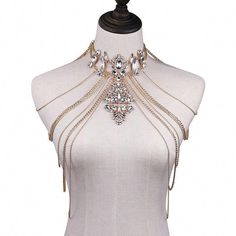 - Be brilliant and dazzling in our magnificent Crystal Chandelier Shoulder Chains. This luxurious choker + body chains features layers of draping strands that will fall to the contour of your body, hi Shoulder Jewelry, Shoulder Necklace, Bling, Fashion Accessories, Fashion Jewelry, Fashion Earrings, Body Chains, Body Jewelry Chains, Diy Body Chain