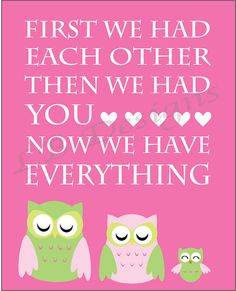 How sweet is this? seriously.. Pink and Green Owl Nursery Quote Print  8x10 by ljg23 on Etsy, $8.00