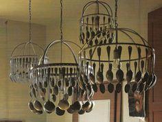 Silverware chandelier: spoons x3