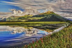 Portage Reflection II - A view of the mountains of Portage taken on a perfect…