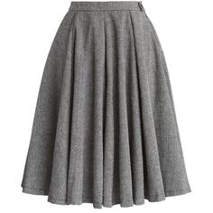 Chicwish Classic Twill A-line Panel Skirt ($47) ❤ liked on Polyvore featuring skirts, grey, gray skirt, knee length a line skirt, flared skirt, button skirt and panel skirt