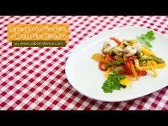 Receita de Espargos com Pimentos e Cogumelos Salteados