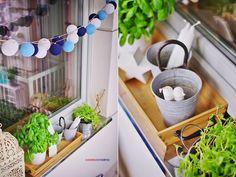 balcony, scandi interior , blue, white, natural ,marine  , cotton balls