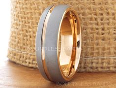 Tungsten Ring Rose Gold Wedding Band Ring by BoundlessBands